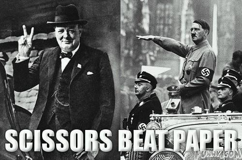 Scissor beats paper